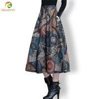 Otoño Invierno Maxi Falda de Lana de Las Mujeres Retro Alta Cintura Gruesa Falda larga Plisada Faldas Swing Grande Impreso Faldas de Lana de Las Mujeres M-4XL
