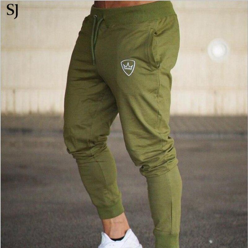 SJ Academias Homens Calças De Algodão 2018 Calças de Pista Corredores Sweatpants Casual Sweat Pants