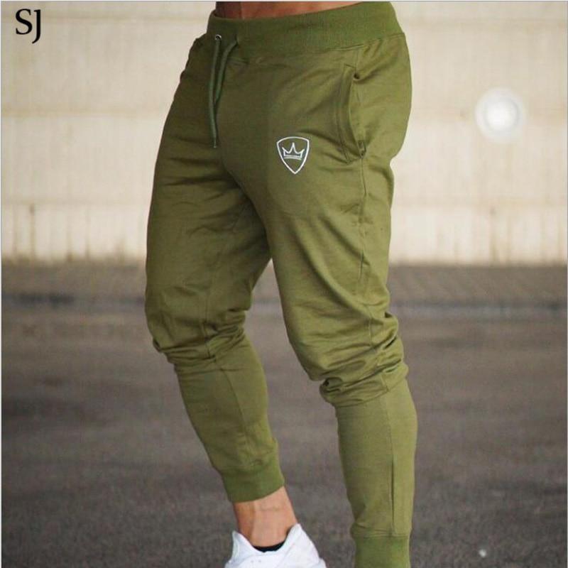 SJ Gyms hombres pantalones de algodón 2018 pista pantalones Joggers pantalones de sudor Casual