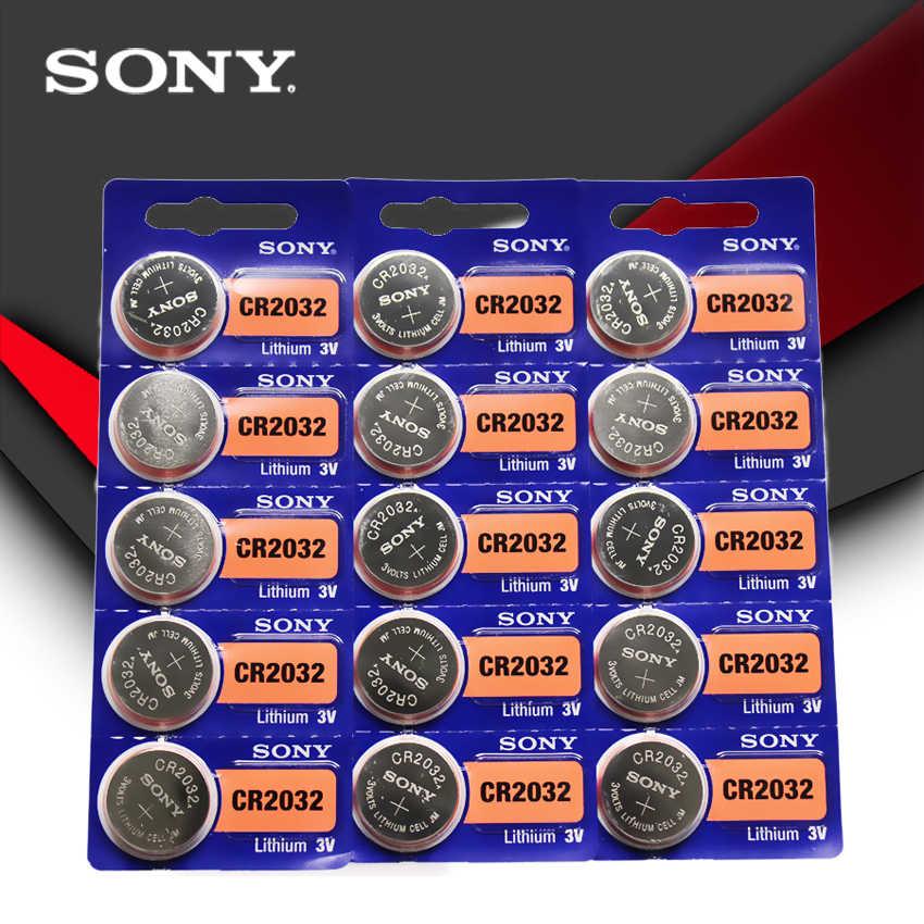 15 יח'\חבילה SONY מקורי cr2032 כפתור תא סוללות 3V מטבע ליתיום סוללה עבור שעון שלט רחוק מחשבון cr2032