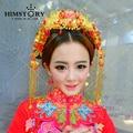 Handmade Chinese Classical Bridal Tiaras Vintage Bridal Hair Accessories  Suit Long Tassel Style  Wedding Headpiece