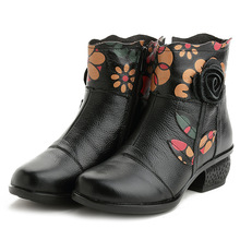 Floral Ankle Boots For Women Autumn Winter Genuine Leather Women's Boots Retro Handmade Comforable Shoes High Heels shangmsh brand women s winter boots 2017 retro handmade genuine leather ankle boots soft casual ladies autumn shoes