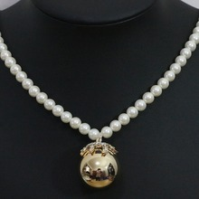 Charms 30mm ball pendant necklace 8mm white shell simulated-pearl beads sweater clothes gold and silver plated jewelry B1425