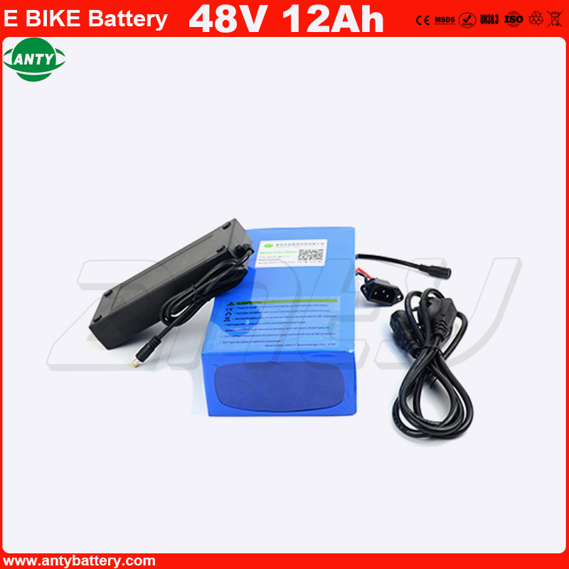 Free Shipping High Capacity Electric Bike Battery 48V 12Ah Lithium Battery 1080W PVC Case Battery with 30A BMS 54.6V 2A Charger free customs taxes super power 1000w 48v li ion battery pack with 30a bms 48v 15ah lithium battery pack for panasonic cell