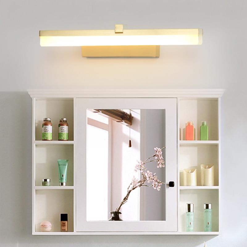 Nordic mirror headlights bathroom mirror lamp bathroom mirror cabinet bathroom copper modern minimalist led mirror headlights