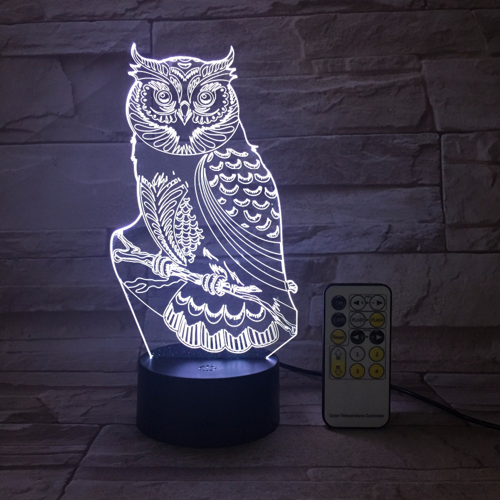 Remote Or Touch OWL 3D Night Light RGB Changeable Mood LED Light DC 5V USB Decorative Table Lamp Get a Free Remote Controller
