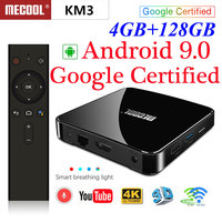 Mecool KM3 ATV Google Certified Android 9.0 TV Box S905x2 Double wifi with 4K HDR Android TV Streaming Media Player Smart TV Box
