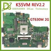 KEFU K55VM motherboard Para ASUS K55VM K55V K55 K55VJ laptop motherboard PGA 989 GT630 K55VM 2 GB REV 2.2 placa de Teste original mainboard