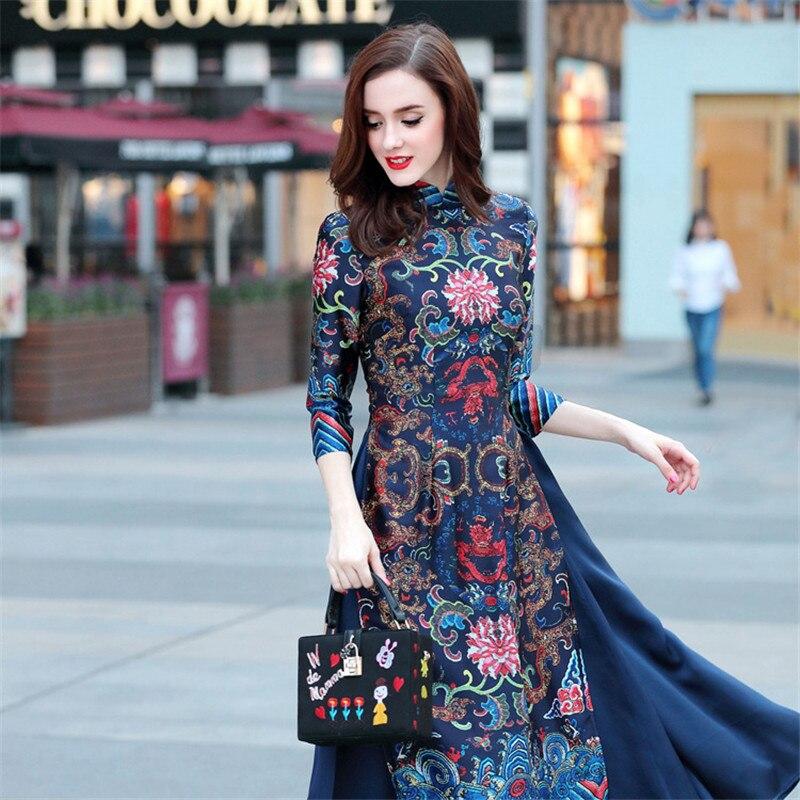 Summer Dress Long Cheongsam Vietnam Traditional Robes Aodai Graceful Stand Collar Dress Slim Qipao Vestidos Women
