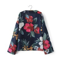 Multicolor Tropical Romantic Printing Tailored Collar Blouse Women Casual Elegant Long Sleeve Loose Shirt Tops