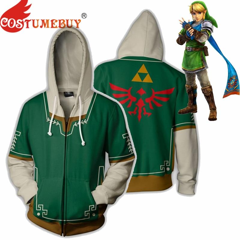 CostumeBuy The Legend of Zelda Cosplay Breath of the Wild Zeld Link Costume Green Hoodie Casual Coat Zipper Jacket Sweater S-5XL