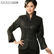 Новое поступление черная винтажная китайская женская шелковая атласная куртка пальто с длинными рукавами с цветами Размеры S M L XL XXL XXXL