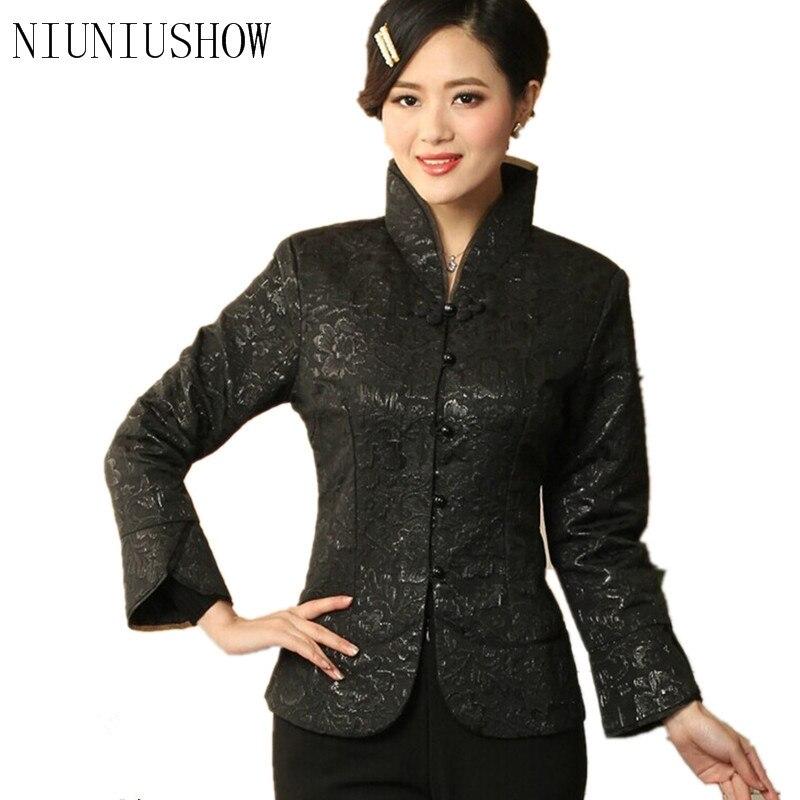 New Arrival Black Vintage Chinese Women's Silk Satin Jacket Coat Long Sleeves Flowers Size S M L XL XXL XXXL