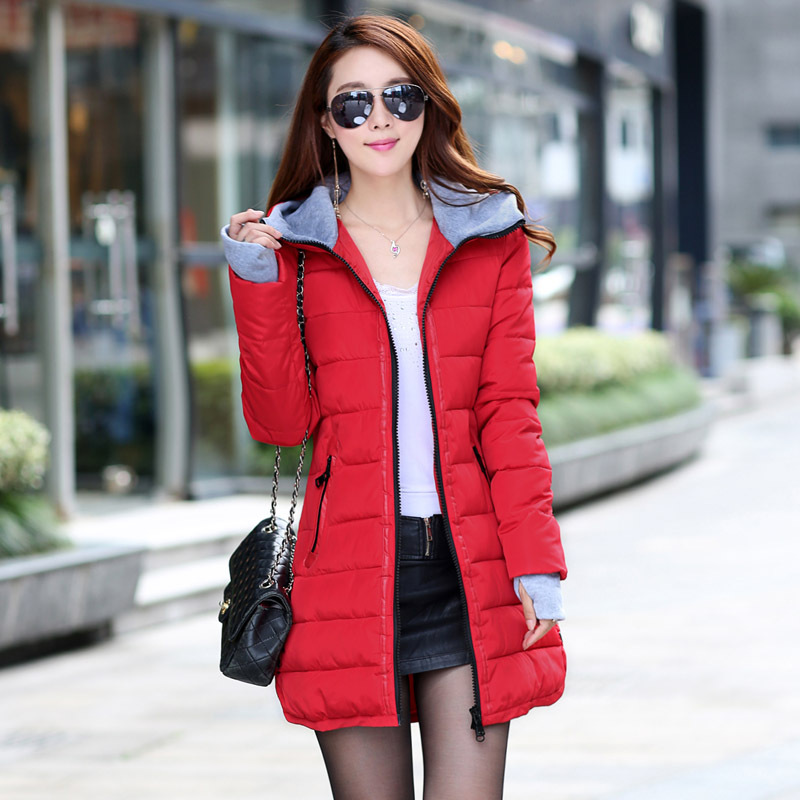 Thick Warm Women   Basic     Jacket   Hooded Black Casual Cotton Winter Coats Ladies Fashion Sweet Outwear Women Long   Jacket   LD1174