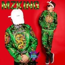 Hot New men DJ Chinese style green embroidery robes worn on both sides jackets suits parties man and women Fashion costumes A293