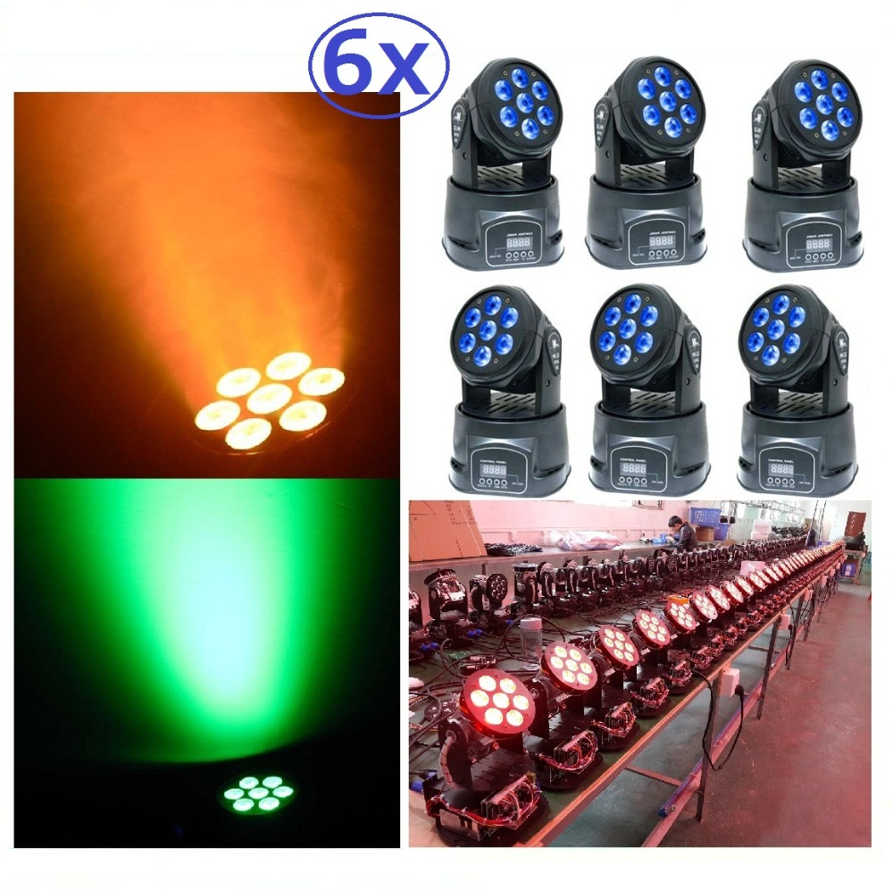 все цены на  6xLot LED Moving Head Mini Wash 7x10W RGBW Quad with Advanced 14 Channels LED Effect Stage Light Factory Price Disco Party Clubs  онлайн