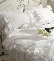 Рябить принцесса постельные принадлежности девушки роскошный белый полный король королева 4 шт. хлопок замуж домашний текстиль покрывала п...