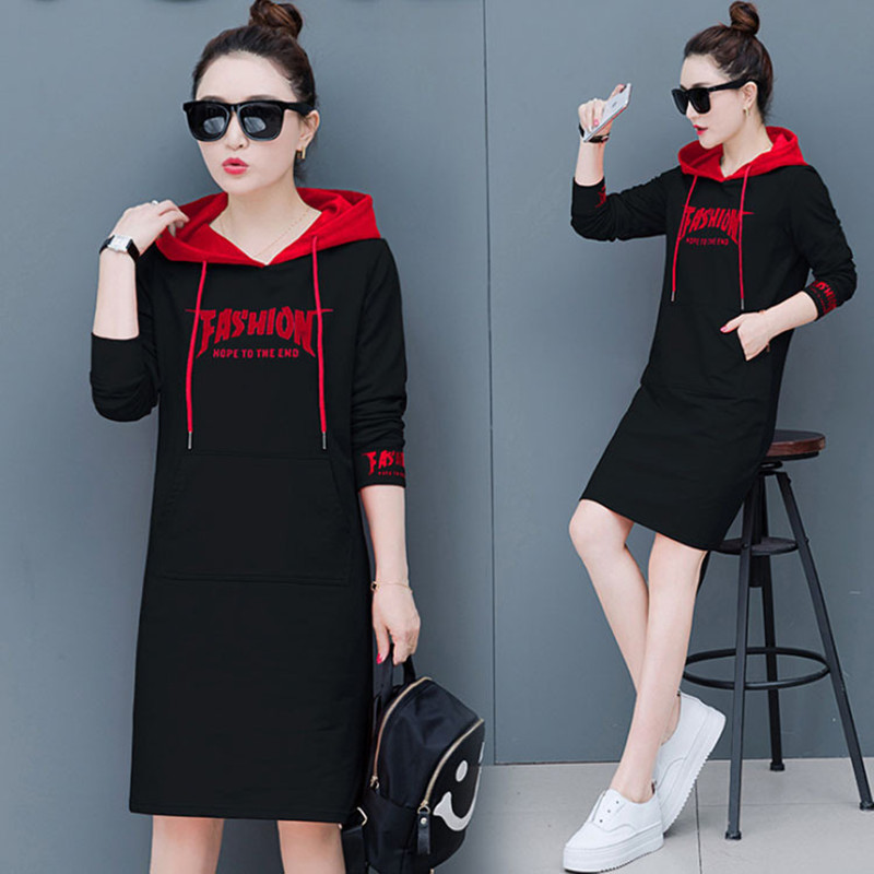 New Spring Autumn Women Sweatshirts Dresses Plus Size Fashion Casual Letter Pockets Hooded Sweatshirt Dress For Women One-Piece