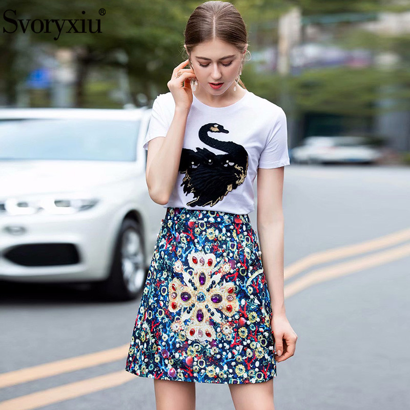 Svoryxiu 2019 Women's Summe Runway Two Piece Set Embroidery White Short Sleeve Tees + Crystal Diamond Mini Skirts Female
