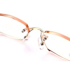 Image 3 - Soolala Strass Anti Blauw Licht Leesbril Vrouwen Diamant Snijden Randloze Bril Mannen Golden Reader Verziend Brillen
