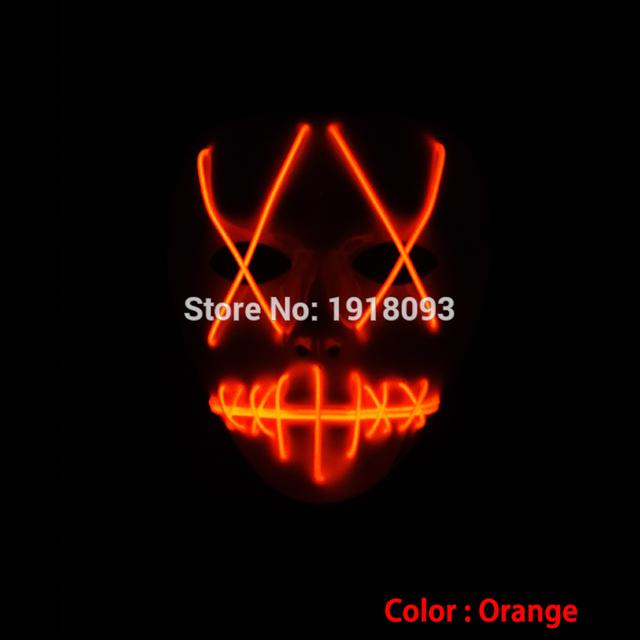 Mais novo el fio filme máscara de halloween dos desenhos animados máscara piscando festival carnaval parte suprimentos novelty iluminação led de néon de incandescência