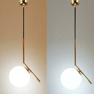 Image 5 - Homhi كرة زجاجية نجفة مزودة بإضاءات ليد ديكوراكاو مطبخ تركيبات الشمال المنزل ديكو غرفة نوم لوفت ضوء الذهب مصباح معلق داخلي