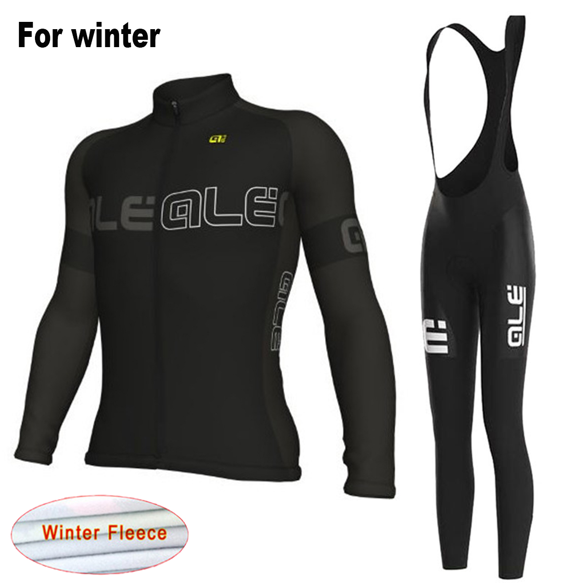 New Winter Warm Black Cycling Jersey 2017 Ale Bib Set Men's Thermal Fleece MTB Bike Clothes Team Bicycle Clothing Suit 2016 new arrivals hot men s cube cycling thermal fleece jersey bib pants sets pro team mtb bicycle clothing bicicleta bike k0709