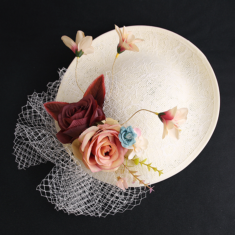 Fairy Bride Wedding Hat Fabric Flower Veil Sinamay Fascinator Hat Headwear Show Party Hairpin Fashion Women Linen Hat Hair Clips halloween party zombie skull skeleton hand bone claw hairpin punk hair clip for women girl hair accessories headwear 1 pcs