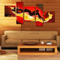 Large Handpainted Abstract Nude Oil Paintings on Canvas 5 Panel Pictures Sexy Naked Women Wall Painting Modern Home Decor Art