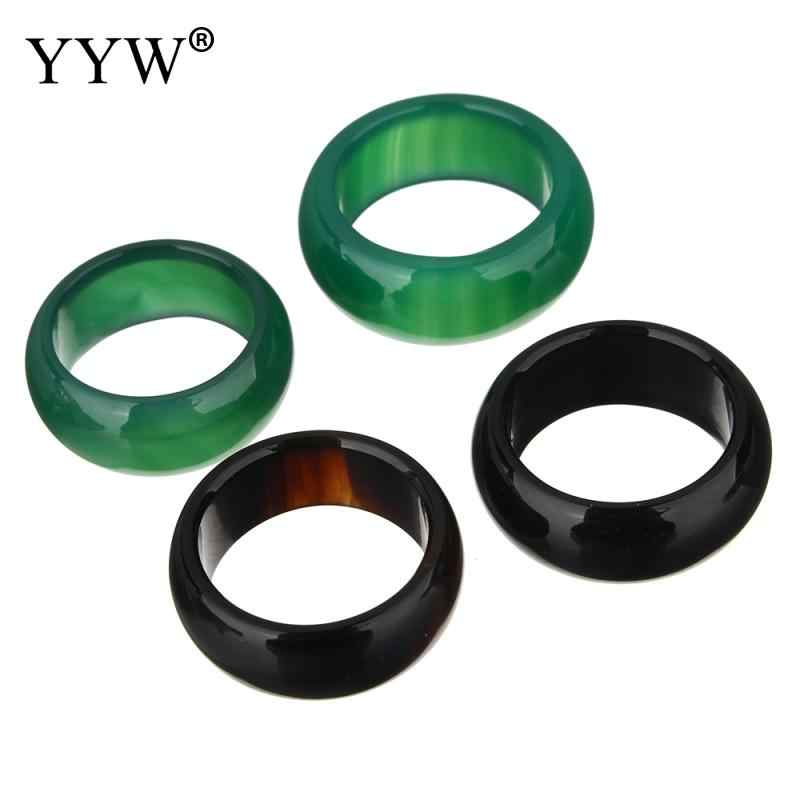 Fashion Natural Agates Finger Rings 7-8 9-10 Size Natural Stone Female Ring For Women Girls Lady Finger Men Jewelry Black Green