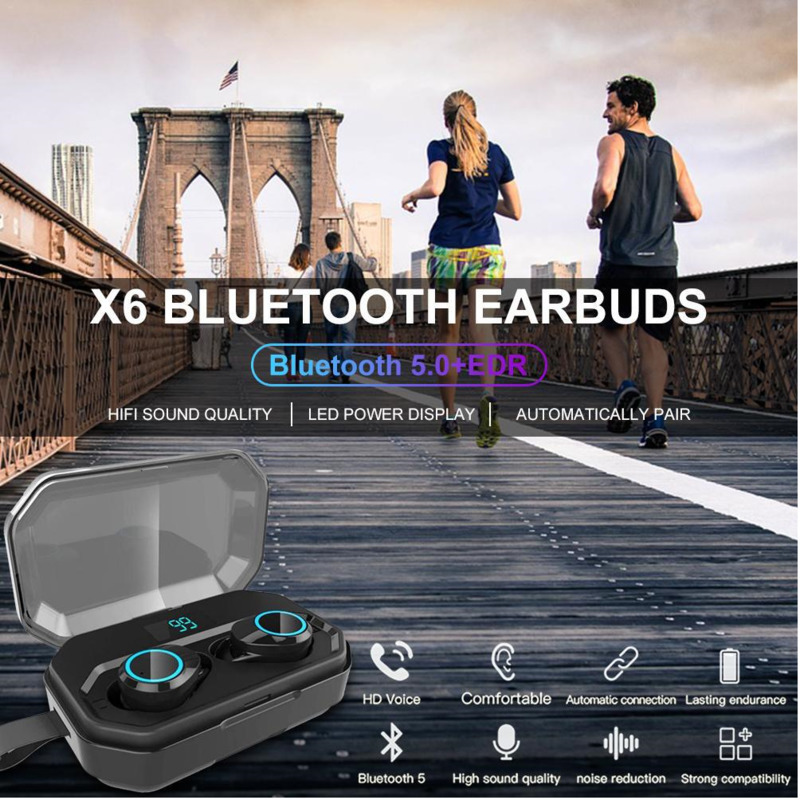 Newest Wireless Bluetooth 5 0 Headset Tws Handsfree Headphone Sports Earbuds Earphone Noise Cancellation For All Phone Eh in Bluetooth Earphones Headphones from Consumer Electronics