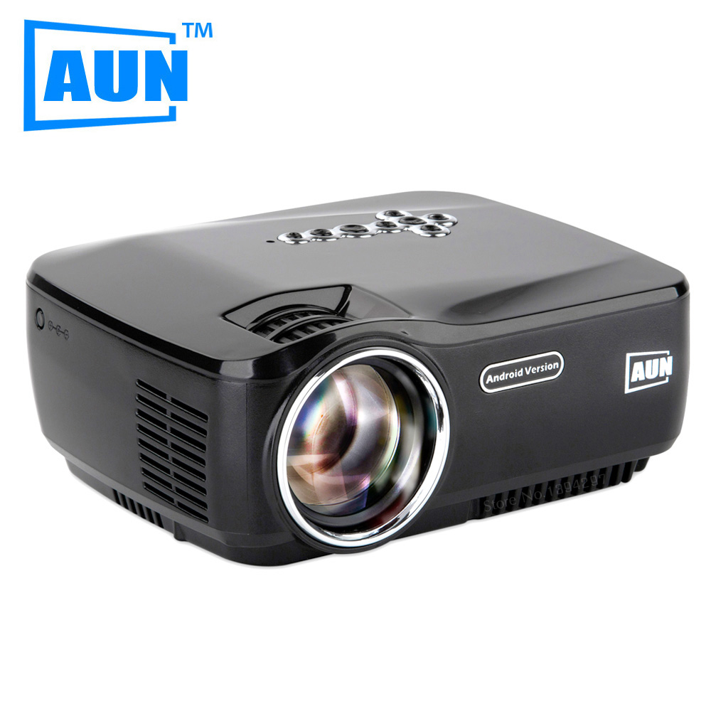 Aun projector am01p led projector built in android 4 4 dlan wifi bluetooth miracast airplay for Small bluetooth projector