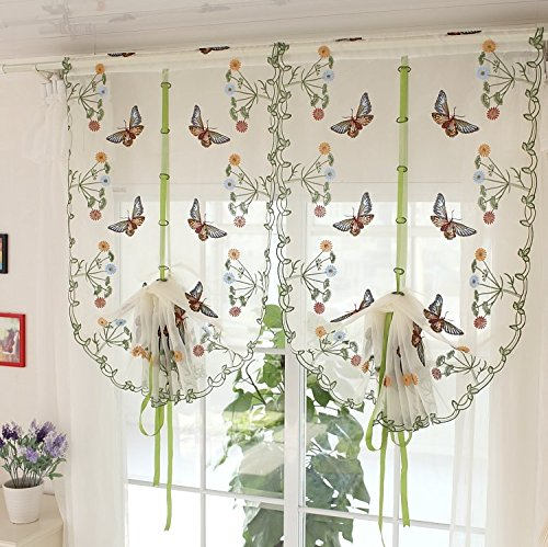 Us 22 5 10 Off Fancy Erfly Curtain Embroidered Sheer Curtains Vintage Fl Adjule Balloon Living Room In