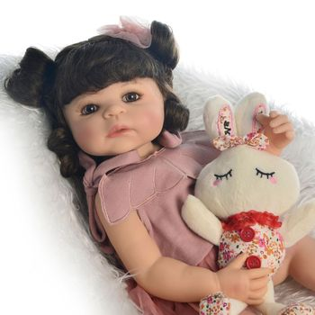 Curly hair 55cm bebes reborn toddler girl doll full body soft silicone  vinyl reborn baby doll realista boneca reborn gift