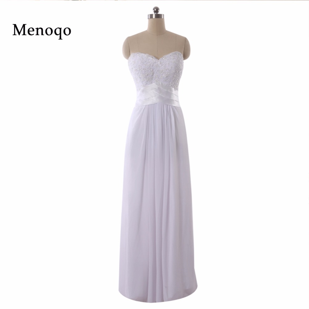 New Arrival Custom Made White A line Long Chiffon Applique Floor length Real Photos High quality   Bridesmaid     Dresses   2018