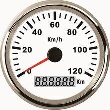 85 мм 120KMH мотоцикл Водонепроницаемый IP67 gps Спидометр Одометр Калибр метр для автомобиля Грузовик Лодка 12 В 24 В с красной подсветкой