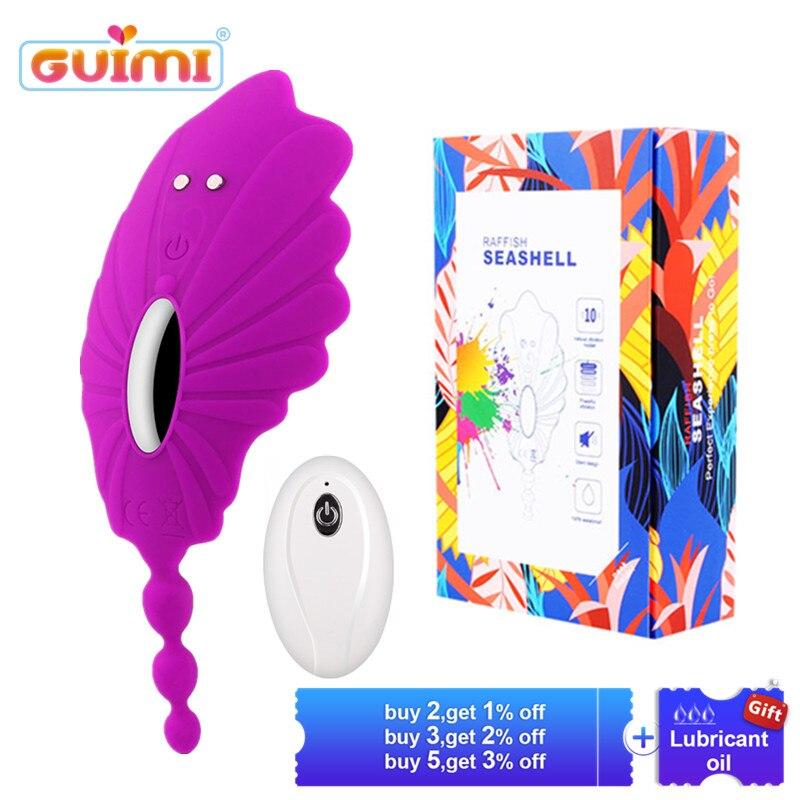 Buy GUIMI Perineum Massage Butterfly Vibrator Vagina Pussy Stimulator Remote Vibrating Panties Erotic Sex Toys Woman Masturbator