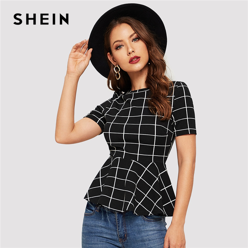 SHEIN Grid Print Peplum Hem Slim Fitted Blouse Women Summer Short Sleeve Workwear Office Lady Elegant Plaid Top Blouses