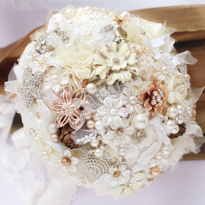 Ivory Lace flowers brooch bouquet Bridal crystal Wedding Bouquet ...