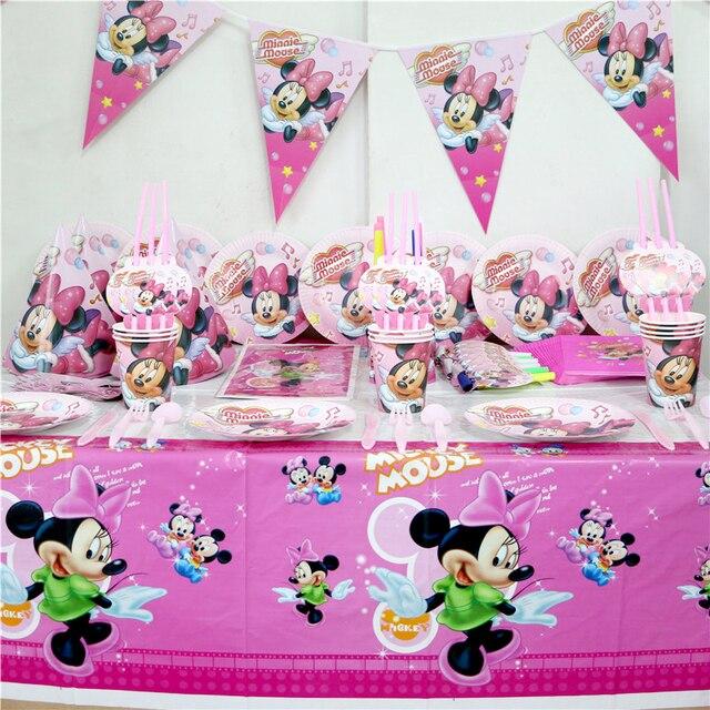 US $21.69 |92pcs los Kinder Geburtstag Party Minnie Maus Dekoration Papier  Teller Tassen Servietten Kunststoff Tischdecke Strohhalme Baby dusche ...