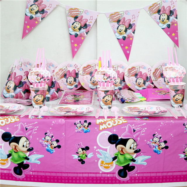 92pcs\\lot Kids Birthday Party Minnie Mouse Decoration Paper Plates Cups Napkins Plastic Tablecloth Straws & 92pcs\\lot Kids Birthday Party Minnie Mouse Decoration Paper Plates ...