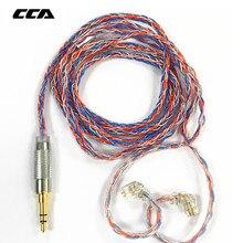 CCA C2 오렌지 블루 Braded 실버 케이블 8 코어 업그레이드 된 도금 케이블 이어폰 업그레이드 ZAX C10 CA4 AS16 AS10 zsn pro ZS10 Pro