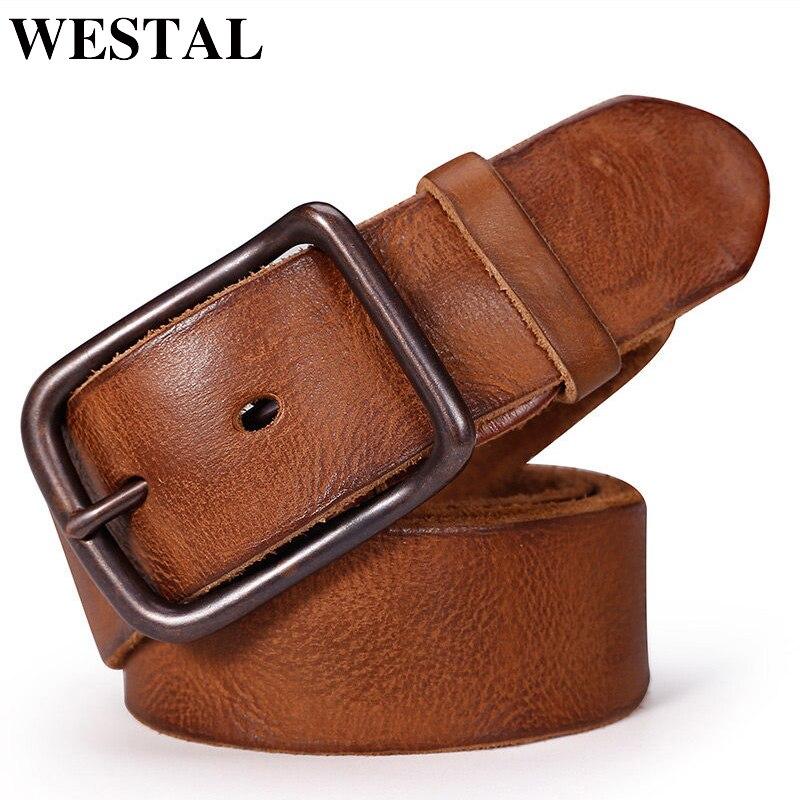 WESTAL Male Genuine Leather Luxury Belt Vintage Designer Buckle For Trousers Men's Belts For Men Quality Strap Leather Belt 6010