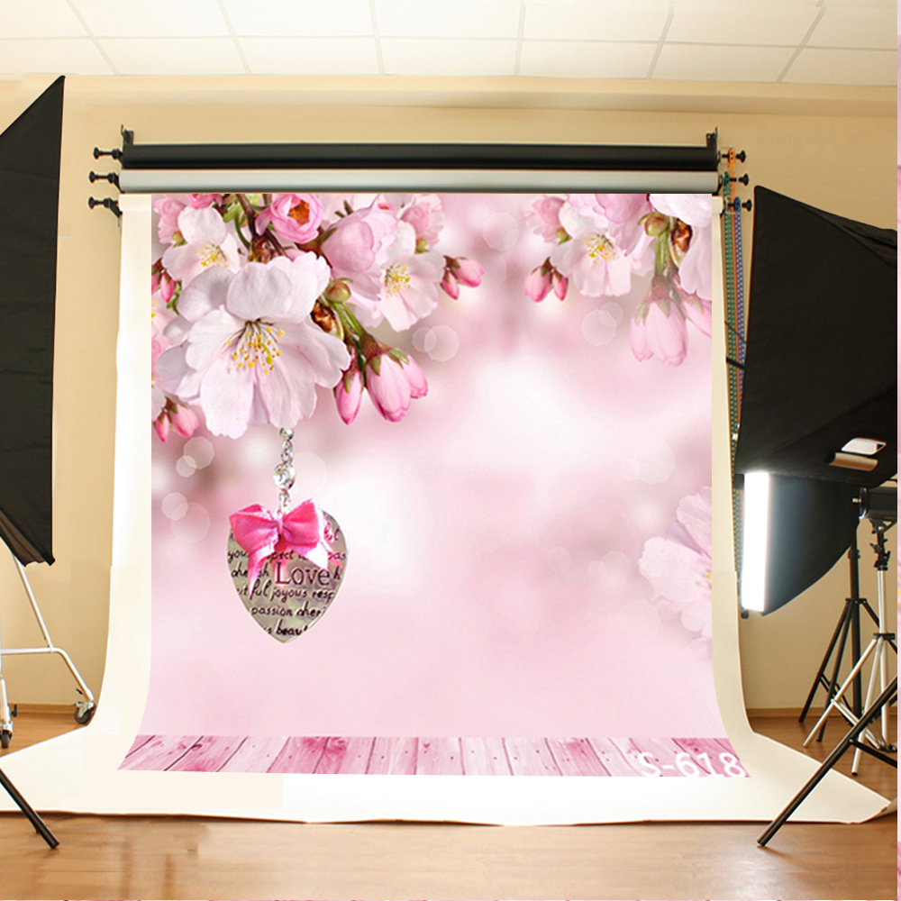 Wedding Photography Backdrops Flowers Hanging Love Iron Photographic Background Pink Wood Floor Vinyl Backdrops for Photography
