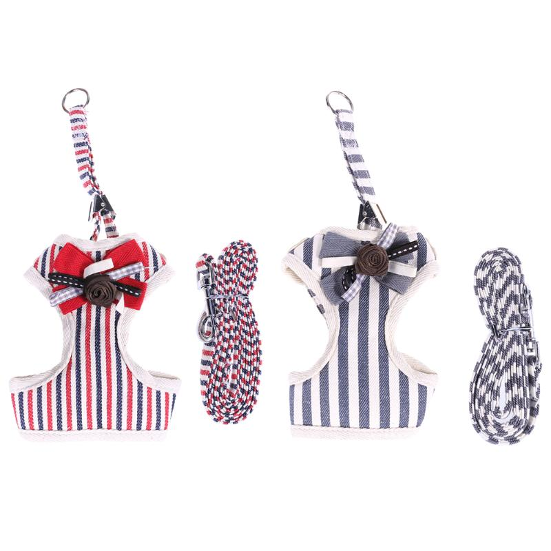Pet Dog Harness Bowknot Stripe Mesh Adjustable Harness for Small Dogs Puppy Traction Animals Pet Dog Products S/M/L