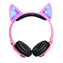 Cute Cat Ear Headphones Bluetooth 4.2 Foldable LED Flashing Glowing Headset Over Ear Headphones Wireless For Girl Kids все цены
