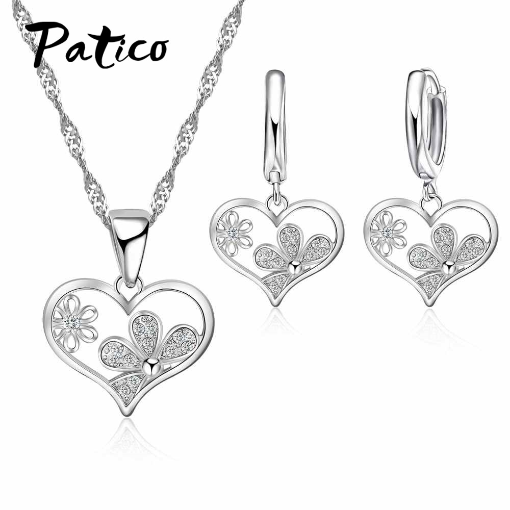 100% True Hot Simple Heart Set Crystal Necklace Heart Jewelry Wholesale Jewelry & Accessories
