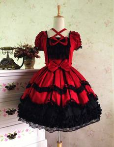 Image 5 - Классическое платье лолиты с коротким рукавом, винтажное платье с перекрестным вырезом, 7 цветов, 2018