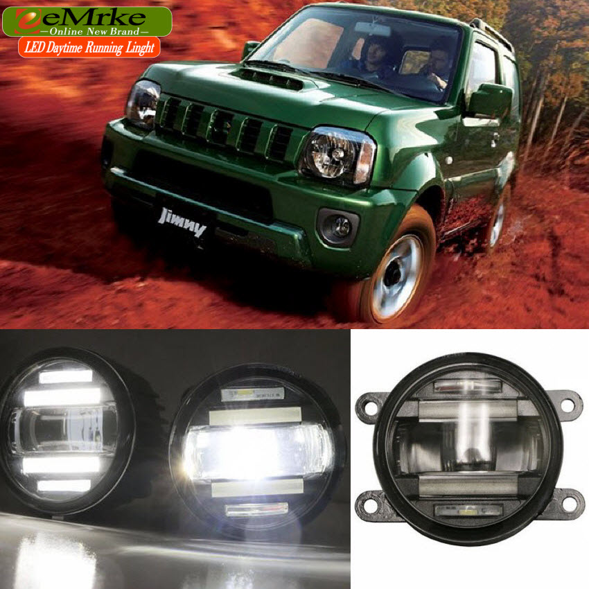 eeMrke Xenon White High Power 2in1 LED DRL Projector Fog Lamp With Lens For Suzuki Jimny Jb43 eemrke xenon white high power 2 in 1 led drl projector fog lamp with lens daytime running lights for renault kangoo 2 2008 2015