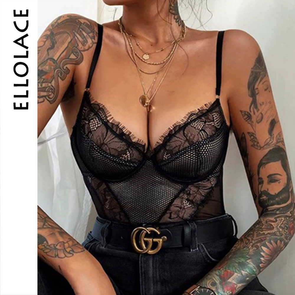 Ellolace ชุดบอดี้สูทเซ็กซี่หญิง Overalls สำหรับผู้หญิง V-Neck Backless โปร่งใสเซ็กซี่ Bodys 2019 ฤดูร้อน Romper บอดี้สูทสีดำ